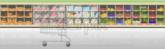Supermarket stands with food products Vector flat style. Cashier front desk in the market. Shopping grocery and meat front view - starpik