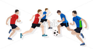 Team playing soccer Vector flat style. Game start. Soccer brochure template - starpik