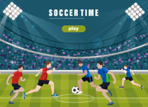 Team playing soccer Vector flat style. Game start. Soccer field brochure template - starpik