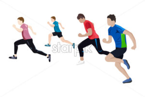 Team running Vector flat style. Athlets competition Game start brochure template - starpik