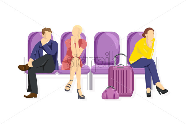 Tourist sitting Vector flat style. People waiting on the chairs. White background template - starpik