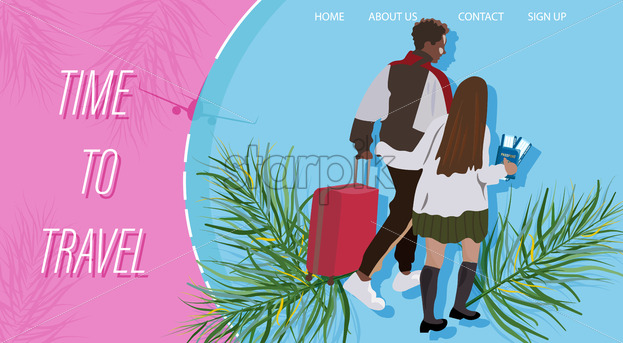 Travel couple walking with the luggage Vector flat style. Brochure background - starpik