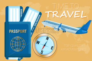 Travel tickets and passport Vector flat style. Tourism documents concept - starpik