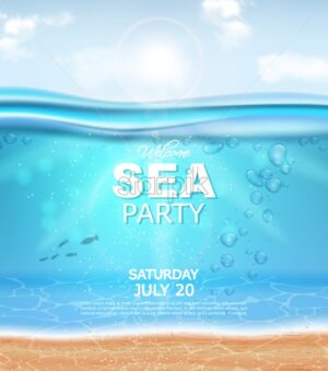 Underwater Vector realistic background. Sea party banner template. Detailed 3d water poster - starpik