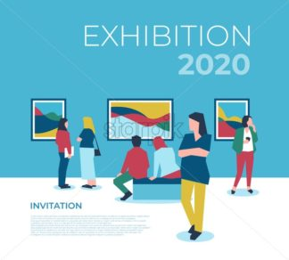 University expo exhibition with people icons infographics collection, digital vector advert - starpik