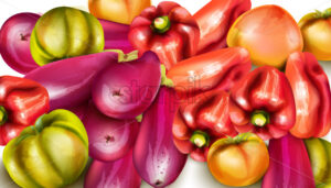 Vegetables banner illustration. eggplant, pepper, yellow tomatoes Vector watercolor - starpik
