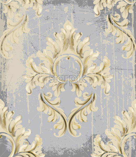 Vintage Ornament pattern Vector. Baroque rococo texture luxury design. Royal textile decor. Old painted background - starpik