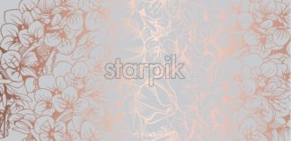 Vintage boho flowers background Vector line art. Golden glossy structure. Hand made design - starpik