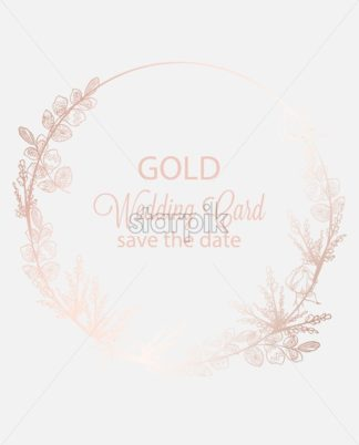 Vintage boho flowers wreath decor Vector line art. Golden glossy structure. Hand made design - starpik
