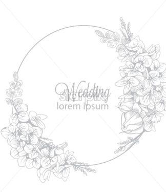 Vintage boho flowers wreath decor Vector line art. glossy structure. Hand made design - starpik