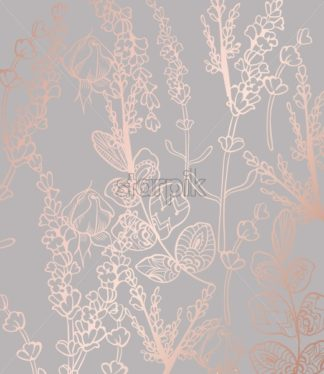 Vintage boho pattern flowers Vector line art. Golden glossy structure. Hand made design - starpik
