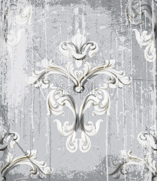 Vintage silver ornament pattern Vector. Baroque rococo texture luxury design. Royal textile decor. Old painted background - starpik