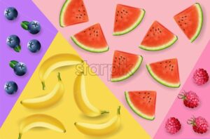 Watermelon, bananas and berry abstract pattern Vector realistic. 3d detailed fruits texture - starpik