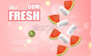 Watermelon chewing gum Vector realistic. Advertise template mock up. Product placement detailed label design. Fresh juicy watermelon flavor. 3d illustration - starpik