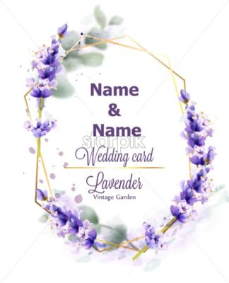 Wedding card Lavender wreath Vector watercolor. Delicate floral bouquet frame. Spring summer banner template - starpik