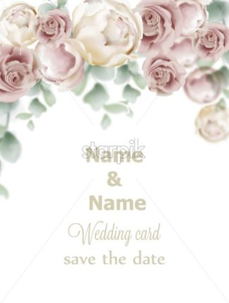 Wedding card roses Vector. Vintage decor design frame. Delicate light color - starpik