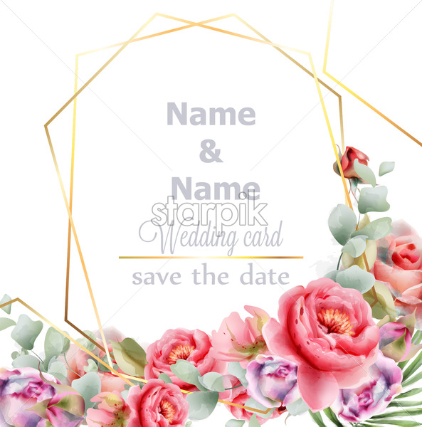 Wedding frame peony watercolor Vector. Golden abstract frame decor. Floral summer composition - starpik