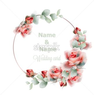 Wedding frame roses watercolor Vector. Golden abstract frame decor. Floral summer composition - starpik