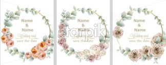 Wedding wreath set watercolor roses Vector. Vintage decor design frames. Round shape collection. soft light color - starpik
