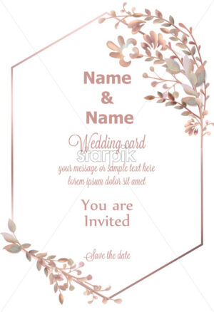 Wedding wreath watercolor Vector. Save the date pink leaves branch round card. Delicate poster. Summer decoration - starpik