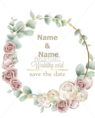Wedding wreath watercolor roses Vector. Vintage decor design frames. Round shape collection. soft light color - starpik