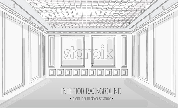 White classic interior design background Vector illustration. Detailed elegant decoration - starpik
