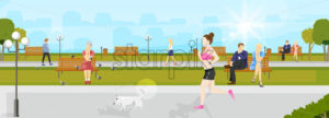 Woman running in the park Vector flat style. Nature summer background, people sitting on the chairs. Sport healthy lifestyle concept - starpik