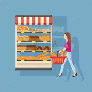 Woman shopping bakery Vector flat style. Fresh products illustration - starpik
