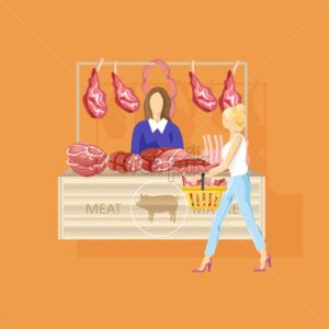 Woman shopping meat Vector flat style. Fresh farm product - starpik