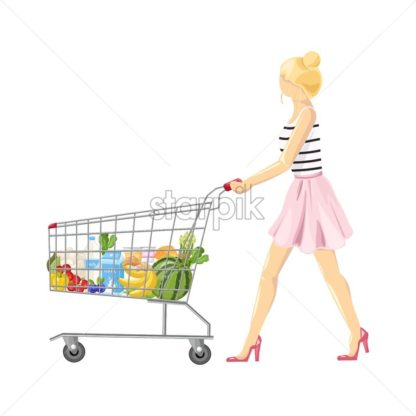Woman with a shopping cart Vector flat style. Product icon sale concept - starpik