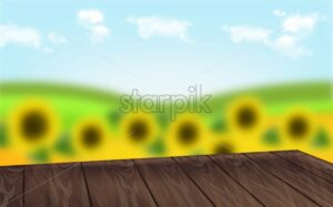 Wooden table with sunflowers background Vector realistic. Summer template layout. 3d illustration - starpik