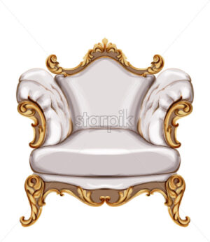 Armchair gold ornamented Vector watercolor. Baroque rich wooden carves decor. Victorian luxury furniture. Painted style - starpik