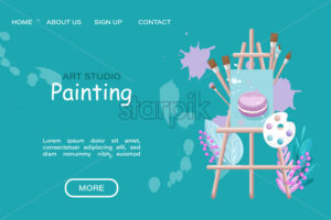 Art studio painting course Vector flat style. Page template online creativity courses - starpik