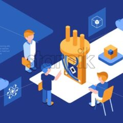 Artificial quantum computing and qubits technology isometric 3d icons infographics with people, digital vector advert infographics - starpik