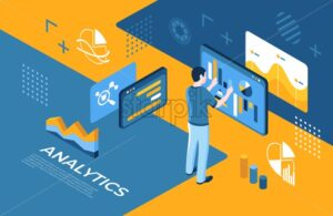 Artificial virtual reality analytics technology isometric 3d icons infographics with people, digital vector advert infographics - starpik