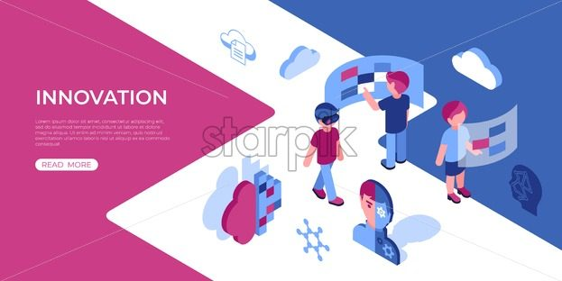 Artificial virtual reality innovation technology isometric 3d icons infographics with people, digital vector advert infographics - starpik