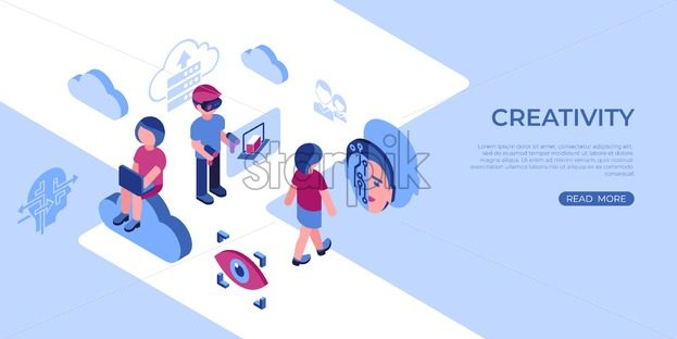 Artificial virtual reality science technology isometric 3d icons infographics with people, digital vector advert infographics - starpik