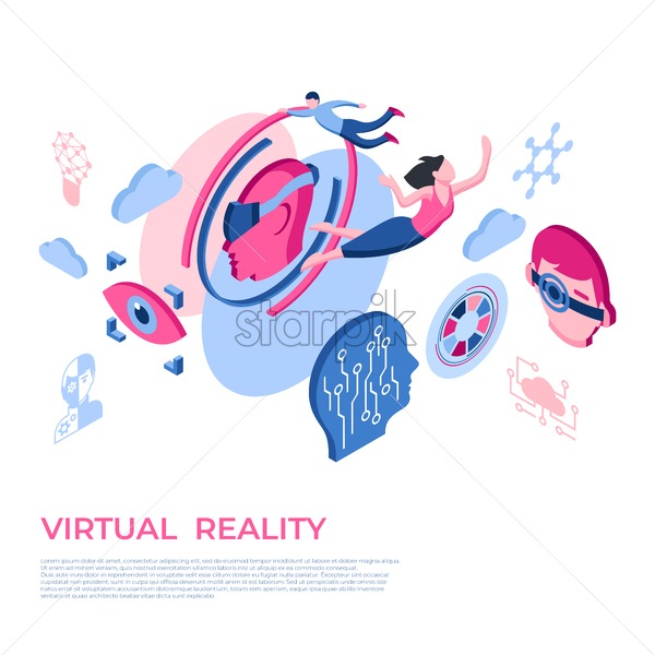 Artificial virtual reality technology isometric 3d icons infographics with people, digital vector advert infographics - starpik