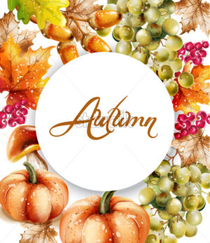 Autumn fall vegetables Vector watercolor. pumpkin harvests illustration - starpik