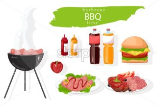 BBQ food set Vector. Meat, burger and drinks collection. flat style - starpik