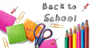 Back to school Vector banner. Sale school supplies promotion advertise poster - starpik