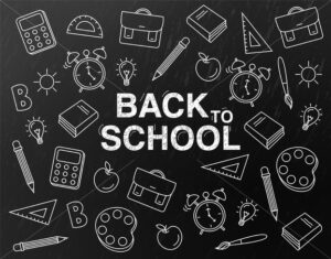 Back to school Vector. Black board banner. School supplies promotion template - starpik