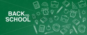 Back to school Vector. Green board banner. School supplies promotion template - starpik