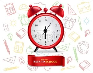 Back to school alarm clock poster Vector. Sale promotion banner - starpik