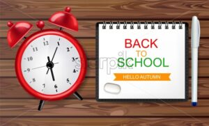Back to school alarm clock poster Vector. Sale promotion banner. School concept note on wooden texture top view - starpik