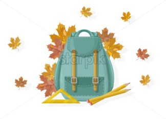 Back to school backpack Vector. Fall autumn posters flat style leaves - starpik