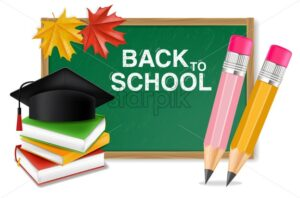 Back to school board Vector realistic. Crayons, ruler, notes detailed 3d illustration - starpik