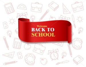 Back to school bow poster Vector. Autumn fall promotion banner. School supplies board template - starpik