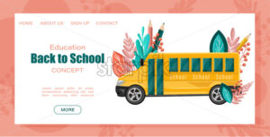 Back to school bus Vector poster. Autumn fall sale promotions template. Abstract brochure flat style - starpik