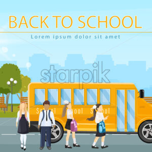 Back to school bus Vector. Kids running to enter the school bus flat style illustration - starpik